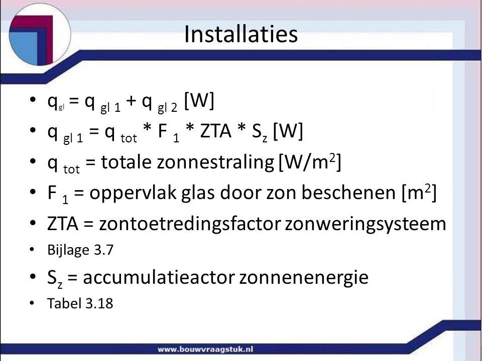 Installaties qgl = q gl 1 + q gl 2 [W]